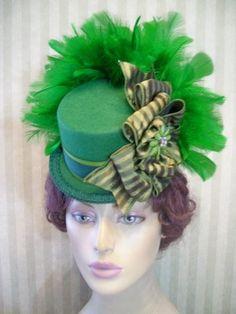 Green Mini Top Hat~Steampunk Hat~Halloween Hat~Pageant Hat~St.Patricks Day Hat