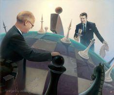 Victor Bregeda, World Chess (Michael Gorbachev and Ronald Reagan) www.thornwoodgallery.com