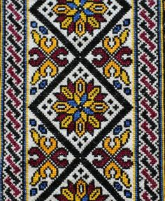 Beading _ Pattern - Motif / Earrings / Band ___ Square Sttich or Bead Loomwork ___ Cross Stitch Numbers, Just Cross Stitch, Cross Stitch Borders, Cross Stitching, Cross Stitch Patterns, Folk Embroidery, Cross Stitch Embroidery, Embroidery Patterns, Palestinian Embroidery