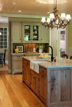 Makes the kitchen look so relaxed! Classic Country Kitchen from Crown Point Cabinetry Farm Kitchen Ideas, Kitchen Redo, New Kitchen, Kitchen Cupboards, Kitchen Walls, Kitchen Paint, Kitchen Cabinets That Look Like Furniture, Kitchen Island With Sink And Dishwasher, Distressed Kitchen Cabinets