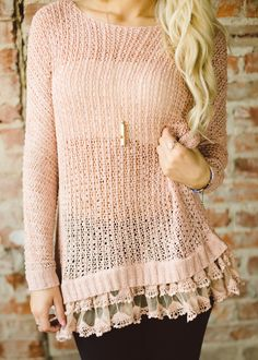 Piace Boutique - Now Or Never Lace Trim Sweater (Dusty Pink), $43.99 (http://www.piaceboutique.com/now-or-never-lace-trim-sweater-dusty-pink/)