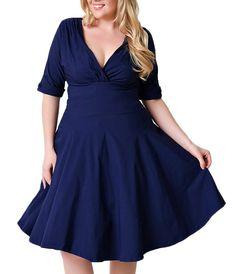 Amazon.com: Nemidor® Women's Vintage 1950s Style Sleeved Plus Size Swing Dress: Clothing