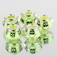 Murano European Glass Beads Set of 5 14 mm diameter Hole Diameter 4 mm