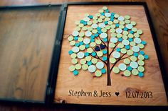 Alternative Wedding Guest Book -Tree Guestbook - Shadow Box - Any Size - Original Personalized Custom Guestbook
