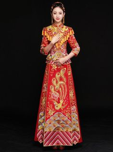 dc53f8d6a Phoenix Embroidered Tasseled Xiuhe Suit Toast Suit Wedding Dress – uoozee  Chinese Wedding Dress Traditional,