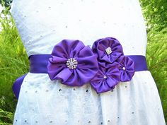 Ribbon sash belt grape satin fabric. Wedding by GoldcoastChic, $40.00