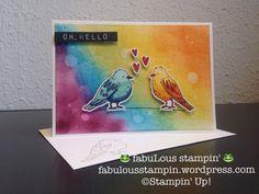 Stampin' Up! Color me Happy love birds rainbow waterdrop background sponge daubers oh hello stamp embossing powder
