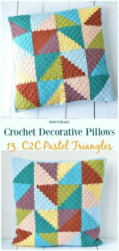 C2C Pastel Triangles Pillow Crochet Free Pattern - #Crochet; Decorative #Pillow; Free Patterns