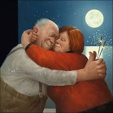 Full Love - Marius van Dokkum, Dutch Artist and Illustrator Growing Old Together, Fat Art, Old Folks, Georges Braque, Dutch Painters, Dutch Artists, Naive Art, Figure Painting, Getting Old