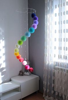 Huge Rainbow Mobile Large Mobile Pom Pom Rainbow Decor room decor Rainbow Centerpiece for Garden or Living Room, Floating Mobile with Crystals Rainbow Centerpiece, Rainbow Decorations, Pom Pom Decorations, Room Decorations, Tulle Centerpiece, Homemade Wall Decorations, Heart Decorations, Centerpiece Ideas, Home Crafts