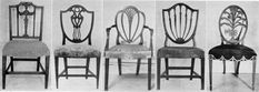Hepplewhite chairs in the Georgian style, also seen in Federal style. Shield shaped seat backs, tapered legs, careful carving. Repurposed Furniture, Antique Furniture, Pastel Furniture, Furniture Ideas, Wooden Ornaments, Chair Backs, Vintage Chairs, Upholstery, Interior Design