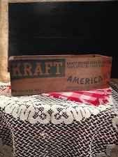 Vintage Rustic Primitive Wooden Kraft American Cheese Box 5LB - Farm House Decor