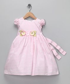Take a look at this Pink Gingham Flower Dress - Infant, Toddler & Girls by C'est Chouette on #zulily today!
