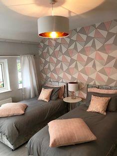 Jun 2019 - Modern grey, blush and rose gold teen room makeover for Make A Wish UK Teen Bedroom Designs, Room Design Bedroom, Small Room Bedroom, Room Ideas Bedroom, Home Room Design, Diy Bedroom Decor, Modern Bedroom, Bedroom Wall, Twin Girl Bedrooms