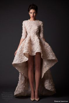 krikor jabotian fall winter 2014 2015 amal short mullet high low short wedding dress sleeves