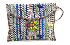 Made from recycled woven plastic grocery bags!