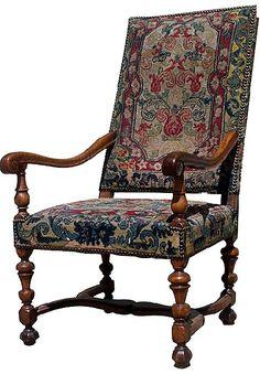 French Walnut Louis XIII Arm Chair