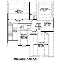Second Floor Plan of French Country   Traditional   House Plan 48593