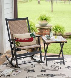 Perfect for when you need dependable, attractive extra seating, our Claytor Rocker is made for convenience with a fold-and-store design.Our Claytor… Outdoor Side Table, Outdoor Seating, Outdoor Chairs, Outdoor Decor, Extra Seating, Used Outdoor Furniture, Wood Patio Furniture, Modern Stools, Woodland Decor