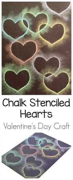 Heart Chalk Stencil Art for Kids - Buggy and Buddy - - This heart collage made from chalk is one of our favorite Valentine's Day crafts for kids! Children always seem to enjoy this fun method of creating art using chalk and stencils! Valentine's Day Crafts For Kids, Valentine Crafts For Kids, Valentines Day Activities, Projects For Kids, Heart Projects, Easy Art Projects, Diy St Valentin, Kinder Valentines, Valentine Hearts