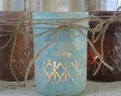 Mason Jars, Votive Candle Holders, Mason Jar Candles, Painted Mason Jars, Rustic Wedding Centerpieces, Mint & Brown Mason Jars