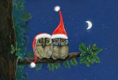 Christmas owls by Marina Durante Christmas Card Crafts, Christmas Owls, Winter Christmas, Vintage Christmas, Merry Christmas, Christmas 2019, Owl Cartoon, Owl Pictures, Owl Always Love You