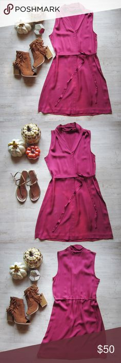 New Listing 🎀 Fuchsia Pink Theory Dress Elegant and classy v-neck silk dress by Theory.  * 100% silk.  * Removable waist tie.  * 37 in. long * 18.5 in. across the chest Excellent used condition. A few very tiny spots. Happy to a photo for anyone interested in purchasing. Theory Dresses