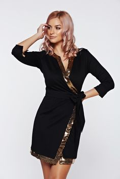 """PrettyGirl gold dress elegant wrap around with sequin embellished details, accessorized with tied waistband, sequin embellished details, """"V"""" cleavage, 3/4 sleeves, elastic fabric, wrap around, metal eyelets fastening"""