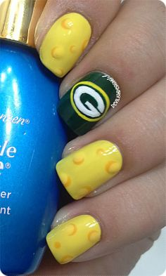 Impress your man with NFL Nails!  Get the Look! #Packer #Nails #Cheeseheads at Polished Nail Bar Milwaukee and Brookfield, WI Locations www.Facebook.com/NailBarPolished Polished Nail Bar
