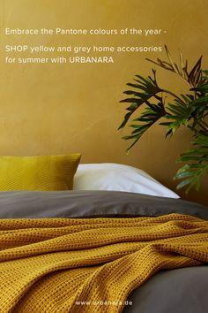 Tagesdecke Anadia aus 100% Baumwolle online bestellen | Senfgelb ✓ Stilvolle Wohnaccessoires ✓ Gratis Versand ab 50€ ✓ 100 Tage Retourenrecht