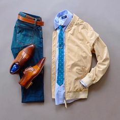 Anchors Away will be the name of todays combo and a new thing Im going to mix in. Im going to do a series of combos without blazers. I realize not everyone has a blazer or at least one that fits right. So Im going to do a series of combos to show you you can still look dapper without one. Here is the first combo of the series. Ill have another one next week and then we will see how it goes. Looking forward to hearing your feedback. Suede Jacket: @niftygenius Shirt: @thetiebar Tie Clip: @