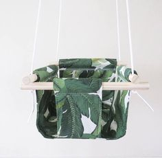 Green Leaves Fabric Baby and Toddler Swing Green Exterior