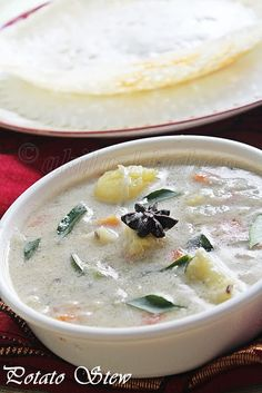 Learning-to-cook: Potato Stew / Ishtu / Eshtu, side dish for aappam or appam or idiyappm, Kerala side dishes, breakfast recipes, Indian recipes, recipe using coconut milk