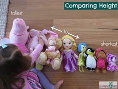 Comparing height tallest to shortest Problem Solving Activities, Math Activities For Kids, Math For Kids, Preschool Kindergarten, Fun Math, Kids Learning, Measurement Kindergarten, Measurement Activities, 4 Kids