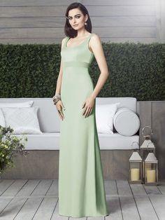 Sleek mint green bridesmaid dress from Dessy with an empire waistline