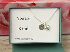 You are Kind gift box jewelry sterling silver by SilverStamped
