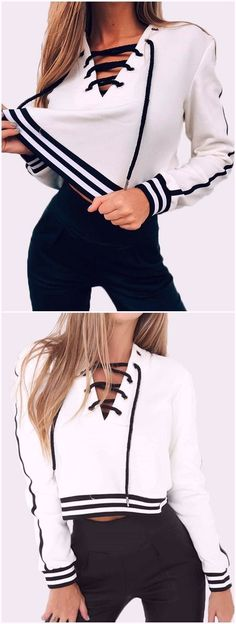 White Stripe V-neck Lace-up Front Crop sweatshirts - Miladies.net