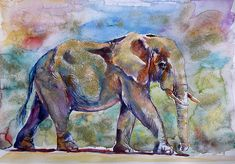 Kovacs Anna Brigitta WATERCOLOR Elephant Art, Elephant Paintings, Elephant Poster, African Elephant, Bird Artwork, Thing 1, African Animals, Gold Art, Wildlife Art