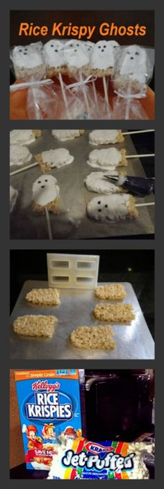 Rice Krispy Ghosts! Perfect for kids Halloween Party ideas I'm making these for Austin to bring to school, the kids would love them!! Halloween Desserts, Halloween Food For Party, Halloween Goodies, Halloween Decorations, Halloween Rice Crispy Treats, Halloween Rice Krispies, Halloween Treats To Make, Halloween Pumpkins, Halloween 2016