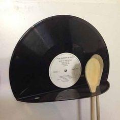 Wooden spoon vinyl record unique by Platten-Bau Marco Greif on DaWanda - - Vinyl Record Projects, Vinyl Record Art, Vinyl Art, Records Diy, Old Records, Vinyl Platten, Vinyl Crafts, Recycled Art, Thrifting