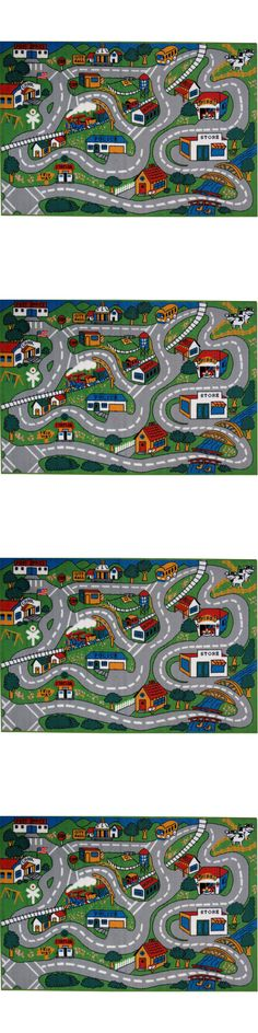 Rugs 154001: Kids Play Rug Depicts Countryside Road, Police Fire Station,  Schools 5