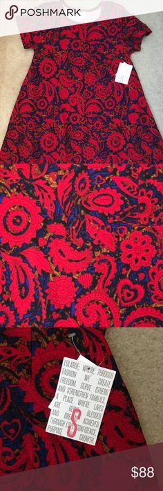 LuLaRoe S Carly BNWT beautiful red paisley Carly. Smoke free and pet free home. LuLaRoe Dresses Asymmetrical