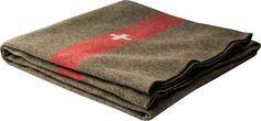 Wool-Blend Swiss Army Blanket: Just like wool blankets produced by the Swiss military from 1917 to the 1960s, this Swiss army blanket is brown with the trademark red stripe and white cross. Great as an emergency car blanket or for camping or picnicking.