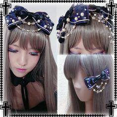 Japanese Sweet Lolita Gothic Galaxy Kawaii Bow Bead Chain Hairpin hair accessory #New