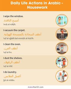 Spoken Arabic, Speak Arabic, Learn Greek, Arabic Sentences, Doing Laundry, English Language Learning, Arabic Language, Learning Arabic, Me Clean