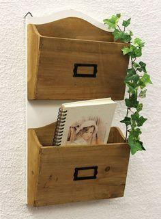 Wall Shelf Newspaper Stand 45cm Shabby Kitchen
