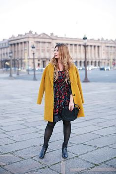 Black floral dress+black ankle boots+mustard coat+black crossbody bag. Fall Outfit 2016
