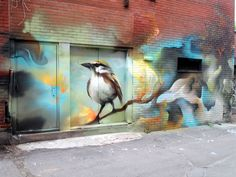 Graffiti Art by Bacon / Montreal / Walls Graffiti. A true gem in the Midwest, you guys should check out our graffiti collection. Urban Street Art, 3d Street Art, Street Artists, Graffiti Murals, Mural Art, Wall Art, Banksy, Grafitti Street, Urbane Kunst