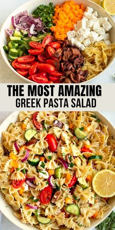 Greek pasta salad is the perfect side dish for any occasion, make with cooked pasta, fresh veggies, kalamata olives, feta cheese, and homemade Greek salad dressing. We love to serve this pasta salad at a picnic or barbecue. Pasta Side Dishes, Quick Side Dishes, Pasta Sides, Potato Side Dishes, Salad Recipes For Dinner, Pasta Salad Recipes, Vegetarian Recipes Dinner, Pasta Salad With Spinach, Greek Salad Pasta