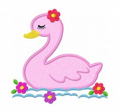 Instant Download Girl Swan Applique Machine by JoyousEmbroidery, $2.99